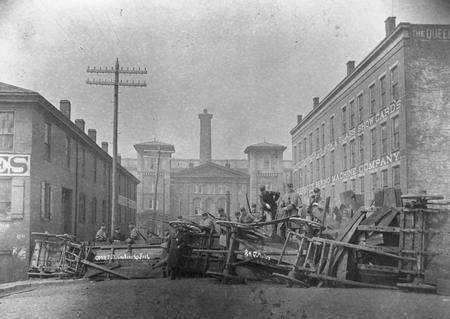 Cincinnati riot 1884 barricade on court street